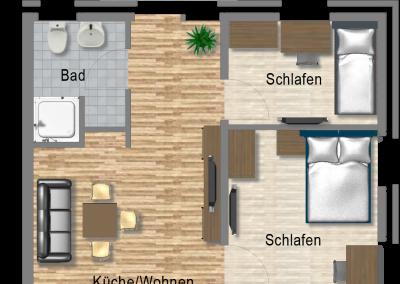 Boardinghouse Kowalski Skizze Familienwohnung